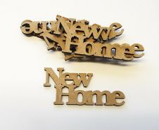 wooden NEW HOME craft  shapes, laser cut 3mm mdf embellishments